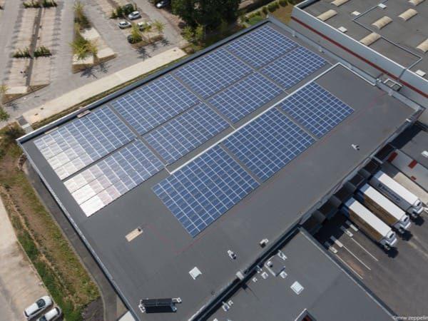 Centrale solaire en autoconsommation sur toiture d'un entrepôt Biocoop à Melesse (35)