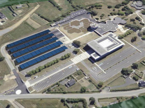 Installation photovoltaïque en ombrière de parking à la Caisse Régional du Crédit Agricole à Ploufragan (22)